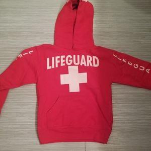 Kids LIFEGUARD Red hooded sweatshirt size youth M